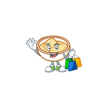 Mashed potatoes with shopping character on white background vector illustration