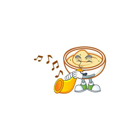 Delicious mashed potatoes with trumpet mascot character vector illustration Ilustração
