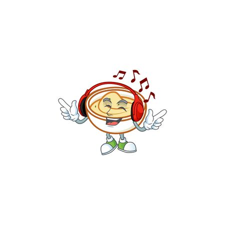 Delicious mashed potatoes with listening music mascot character vector illustration