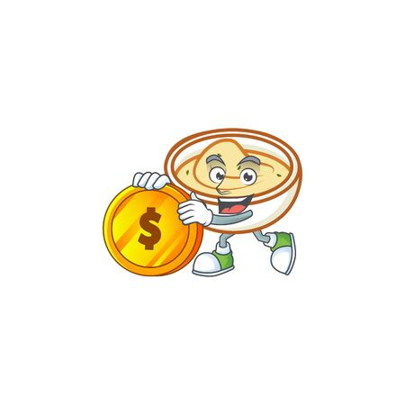 Mashed potatoes in bowl with bring coin character vector illustration