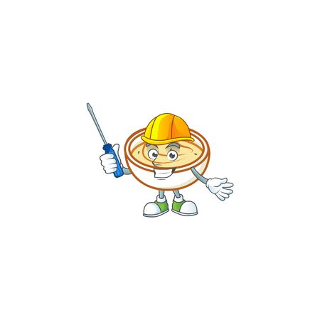 Mashed potatoes in bowl with automotive character vector illustration Çizim