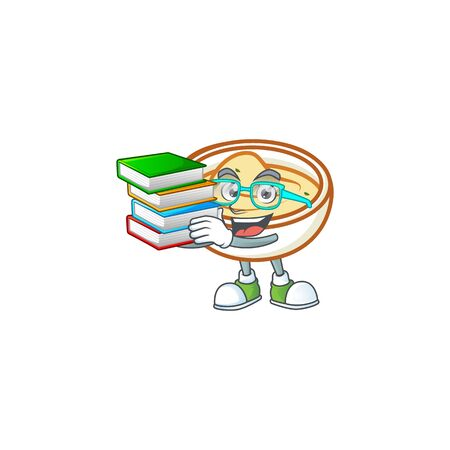 Mashed potatoes in bowl with student bring book character vector illustration