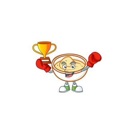 Mashed potatoes in bowl with boxing winner character vector illustration