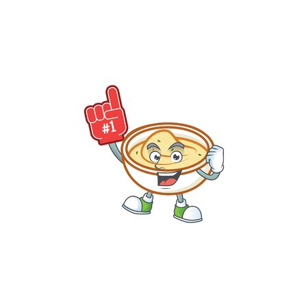 Mashed potatoes in bowl with foam finger character vector illustration