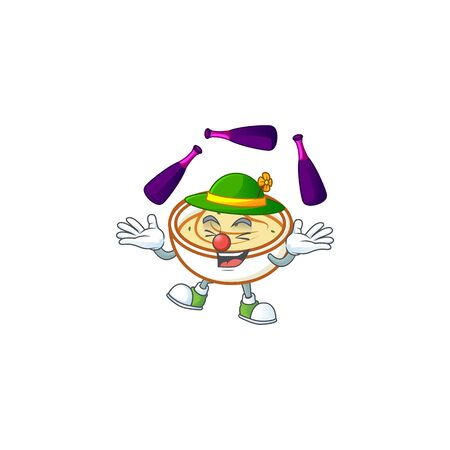 Mashed potatoes in bowl with juggling character vector illustration