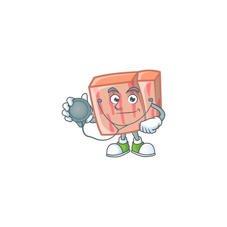Fresh meat cartoon with doctor character shape vector illustration Illustration