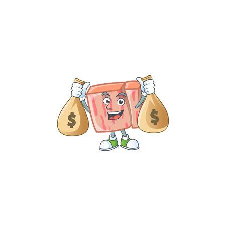 Fresh meat cartoon with holding money bag character shape vector illustration Illustration