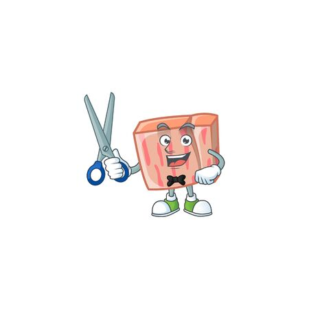 Fresh meat cartoon with barber character shape vector illustration Illustration