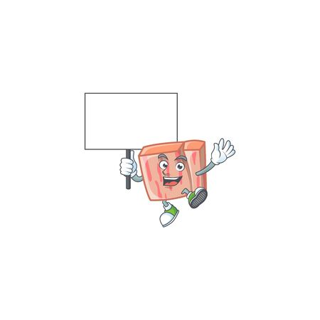 Fresh meat cartoon with bring board character shape vector illustration Illustration