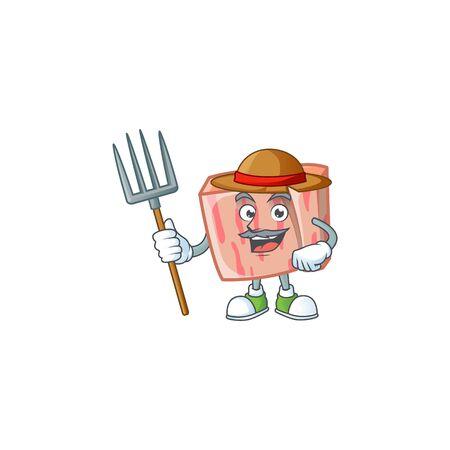 Fresh meat cartoon with farmer character shape vector illustration Illustration