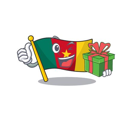 flag cameroon mascot isolated with cute holding gift vector illustration Ilustração