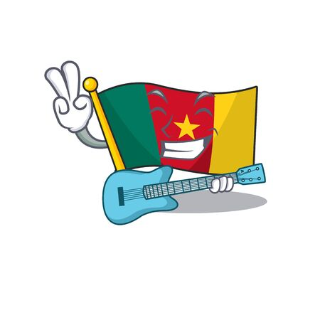 flag cameroon mascot isolated with cute vector illustration with guitar
