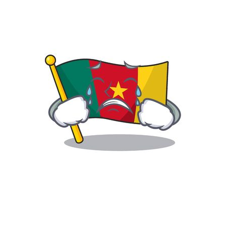 flag cameroon mascot isolated crying with cute vector illustration