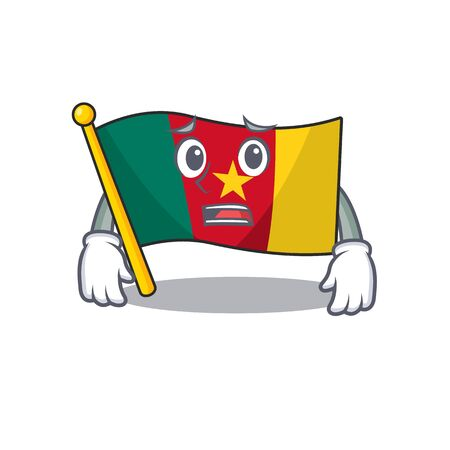 flag cameroon afraid mascot isolated with cute vector illustration Ilustração