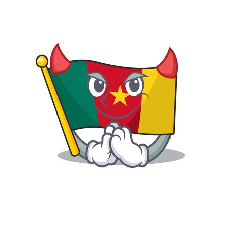 flag cameroon mascot isolated with cute devil vector illustration