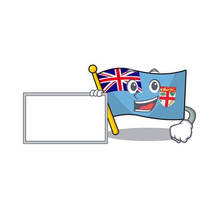 flag fiji isolated in the with board mascot vector illustration Illustration