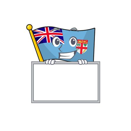 flag fiji isolated in the grinning with board mascot vector illustration