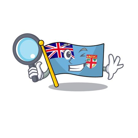 flag fiji cartoon detective with the shape vector illustration