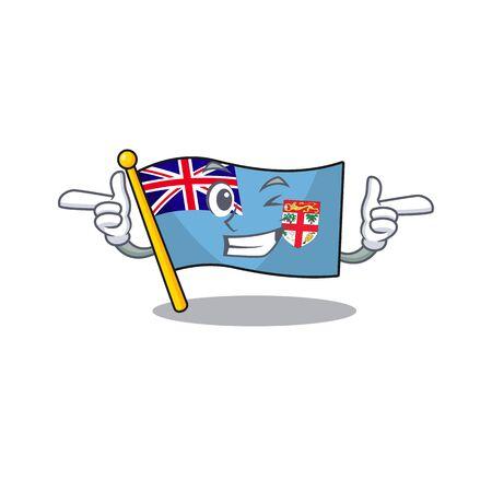 flag fiji cartoon wink with the shape vector illustration