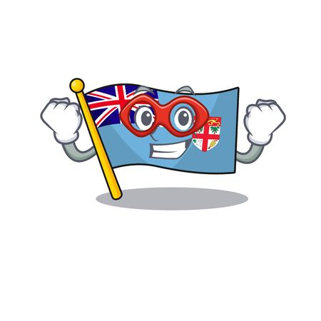 flag fiji cartoon super hero with the shape vector illustration