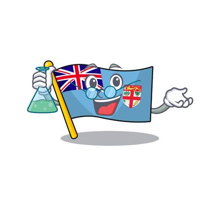 flag fiji cartoon professor with the shape vector illustration