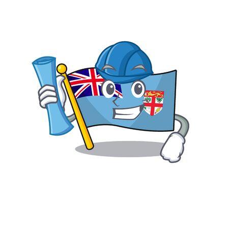 flag fiji cartoon architect with the shape vector illustration