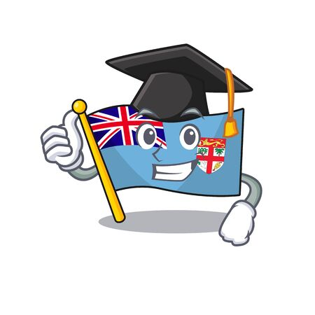 flag fiji cartoon graduation hat with the shape vector illustration