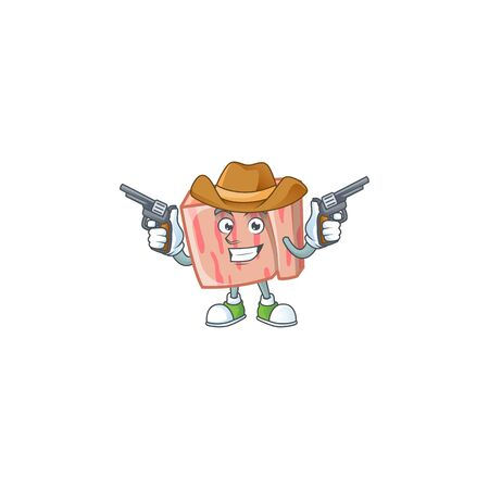 Fresh meat cartoon with cowboy character shape vector illustration Illustration