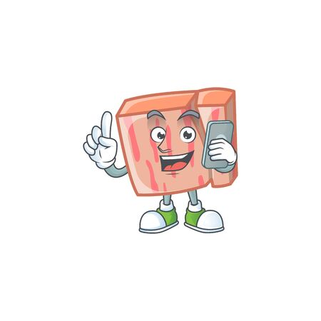 Fresh meat cartoon with holding phone character shape vector illustration 向量圖像