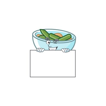 Green beans casserole in bowl squinting with board mascot. Vector illustration