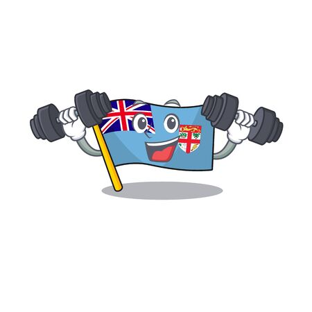 flag fiji isolated in the with bring barbell mascot vector illustration Illustration