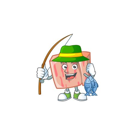 Meat with fishing character on white background