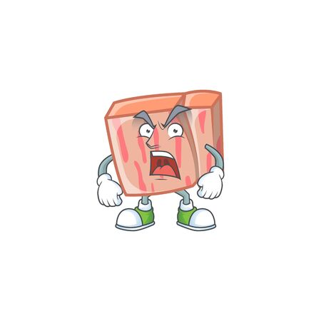 Meat with angry character on white background