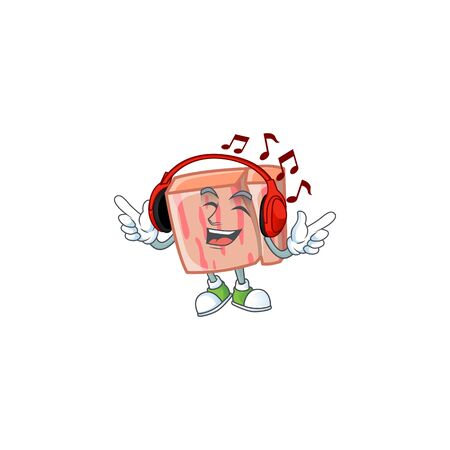 Meat with listening music character on white background