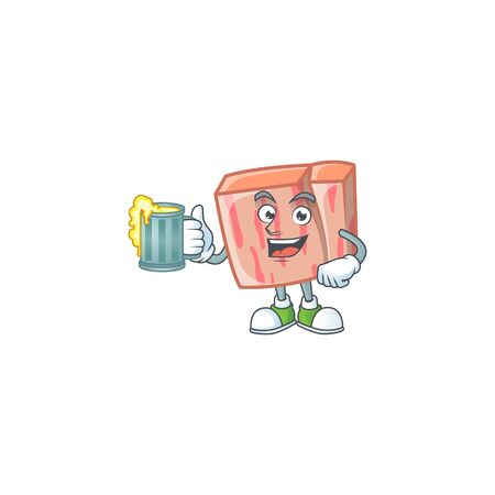 Meat with holding juice character on white background Illustration