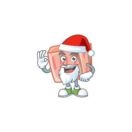 Cartoon meat in the character mascot santa claus vector illustration Illustration