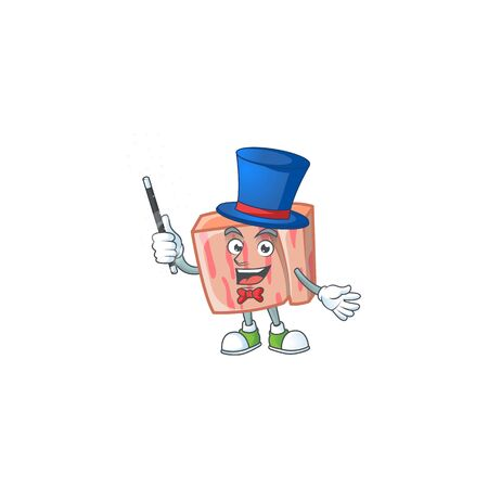 Cartoon meat in the character mascot magician vector illustration Illustration