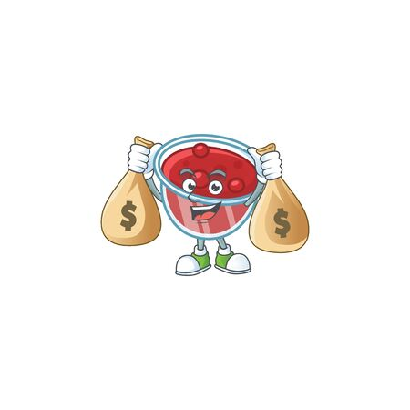 Canberries sauce icon in character shape holding money bag. Vector illustration