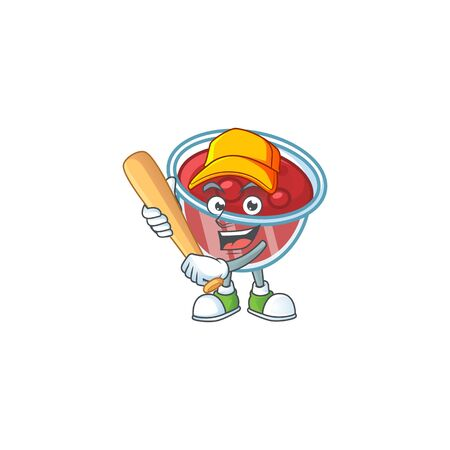Canberries sauce icon in character shape playing baseball. Vector illustration Çizim