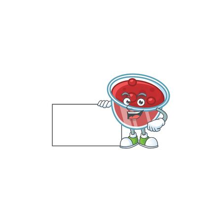 Canberries sauce icon in character shape grinning with board. Vector illustration Illustration
