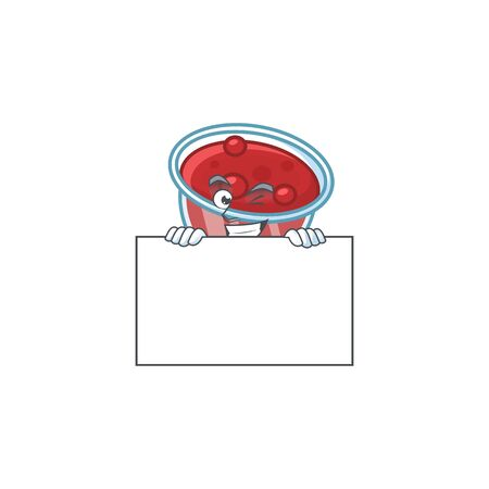 Canberries sauce icon in character shape squinting with board. Vector illustration Illustration