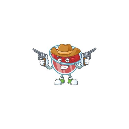 Canberries sauce icon in character shape cowboy. Vector illustration
