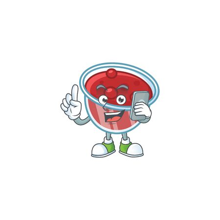 Canberries sauce icon in character shape with holding phone. Vector illustration