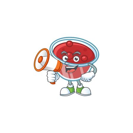 Canberries sauce icon in character shape with holding megaphone. Vector illustration