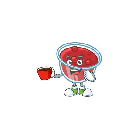 Canberries sauce with drinking in cup mascot on white background vector illustration Archivio Fotografico - 133484154