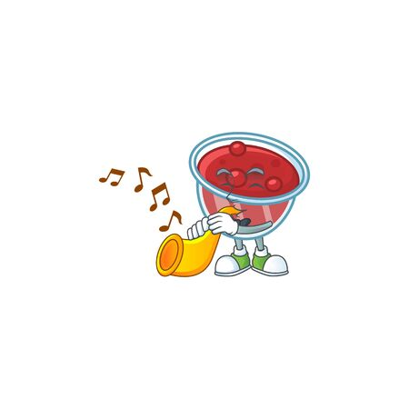 Fresh canberries sauce with trumpet cartoon character. Vector illustration Ilustracja