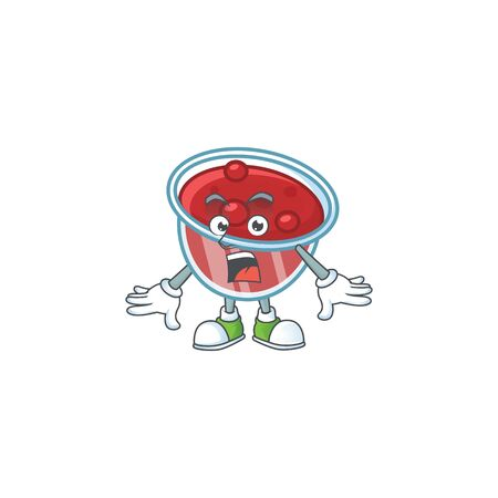 Fresh canberries sauce with surprised cartoon character. Vector illustration