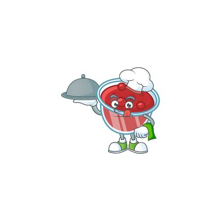 Fresh canberries sauce with chef holding food cartoon character. Vector illustration Ilustracja