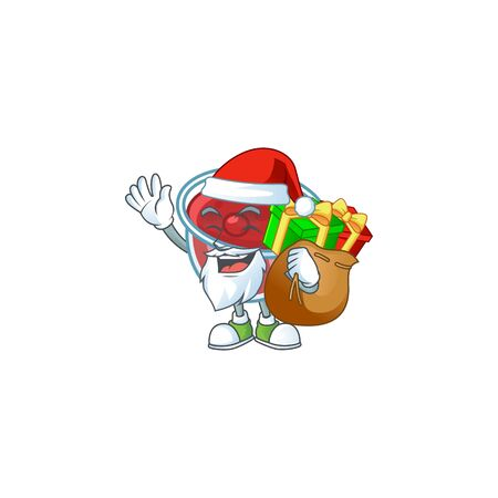 Sweet canberries sauce with cartoon style santa bring gift. Vector illustration Illustration