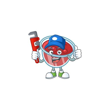 Sweet canberries sauce with cartoon style plumber. Vector illustration
